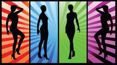 Eps 10 vector illustration of women with high heels Stock Illustration