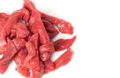 raw red meat isolated on white - stock photo