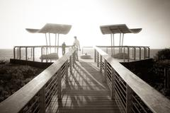 photo with railing paths viewing platform - stock photo