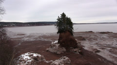 A Pan of Soley Cove in the Bay of Fundy, Nova Scotia. Stock Footage
