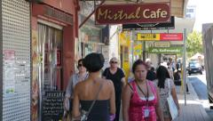Fremantle, perth, australia, people walk down shopping street Stock Footage