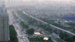 Bird's eye view of Xi'an city with haze,China. Stock Footage