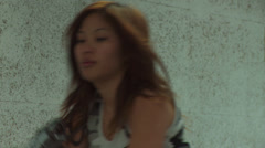 Asian Girl Running Aiming MP40 - 002 Stock Footage