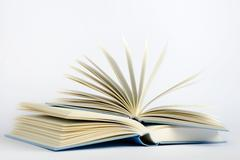 Two open blue books on a light blue background - stock photo