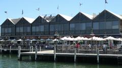 Fremantle fishing boat harbour, perth, australia, kailis fish market Stock Footage
