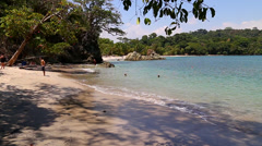 Manuel Antonio National Park, Quepos, Costa Rica. Pan of pristine beach. Stock Footage