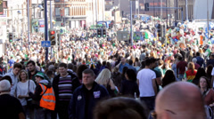 Birmingham's St Patrick's Day parade 2014 - big crowd after parade Stock Footage