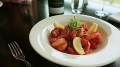 Chilli Prawns with lemon Stock Footage