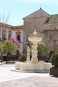 Spring in Plaza Mayor de Osuna, Spain - stock photo