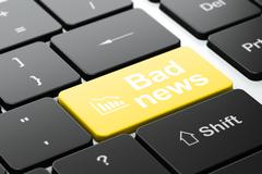 Stock Illustration of News concept: Decline Graph and Bad News on computer keyboard background