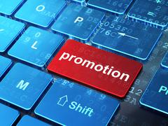 Stock Illustration of Advertising concept: Promotion on computer keyboard background