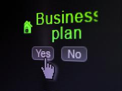 Business concept: Home icon and Business Plan on digital computer screen - stock illustration
