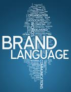 "Word cloud ""brand language"" Stock Illustration"