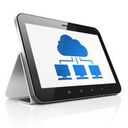 Cloud technology concept: Cloud Network on tablet pc computer Stock Illustration
