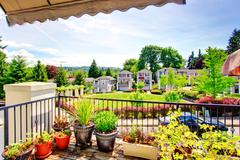 view of residential complex from balcony - stock photo