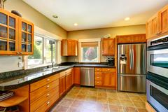 Modern kitchen room interior Stock Photos