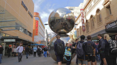 "Adelaide downtown - rundle mall ""malls balls"" best known landmark in rundle mall Stock Footage"