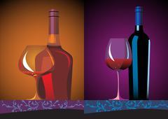 Bottles and glasses. Vector illustration. - stock illustration