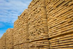 Lumber at lumber yard Stock Photos