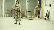Stock Video Footage of Young Girl Running Aiming K98 - 002