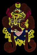 chinese tradition opera mask, isolated on black background - stock illustration