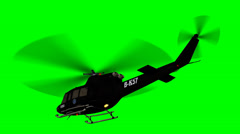 FBI Helicopter in flight - green screen Stock Footage