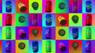 Stock Video Footage of Retro pop cola can with colorful haltone background seamless loop