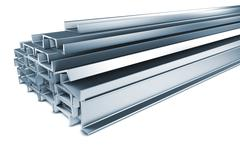 Pile of Steel Channels Isolated on White. - stock illustration