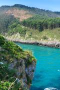 ria tina minor. nansa river mouth. municipality of val de san vicente, cantab - stock photo