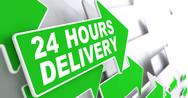 Stock Illustration of Green Arrow with slogan - 24 hours Delivery.