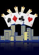 Illustration of city with four aces poker Stock Illustration