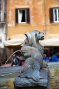 Sculptural detail of the baroque fountain in the piazza della rotonda  rome, Stock Photos