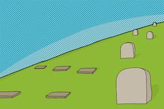 Cemetery cartoon Stock Illustration
