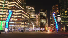 Time-lapse of Vancouver City Streets at Night - stock footage