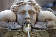 sculptural detail of the baroque fountain in the piazza della rotonda  rome, - stock photo