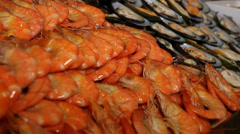 Seafood display prawns and muscles Stock Footage