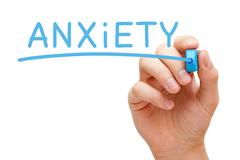 anxiety blue marker - stock illustration