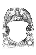 angel with coat of arms from 16th century - stock photo