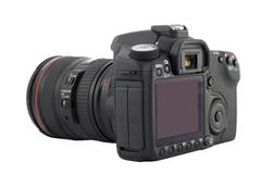 Digital camera with clipping path. Stock Photos