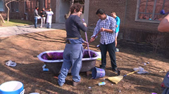 Toronto engineering students get purple and push car - stock footage