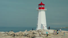 Famous Lighthouse at Peggy's Cove, Nova Scotia Stock Footage