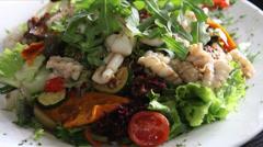 Seafood Salad Restaurant Entree - stock footage