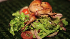 Quail Dish Restaurant Food Stock Footage