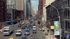 Urban big city buildings street aerial crane dolly moving shot - stock footage