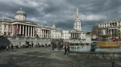 Trafalgar Square wide pan from left to right 4K Stock Footage