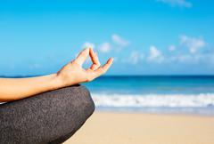 young woman practicing morning meditation yoga - stock photo