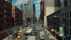 Urban big city buildings street aerial crane dolly moving shot 4k Stock Footage