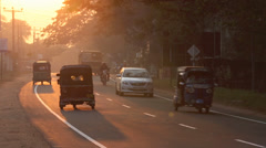 Traffic at sunset Stock Footage