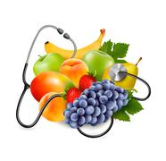 Fruit with a stethoscope. healthy eating concept. vector. Stock Illustration