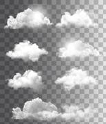 Set of transparent different clouds. vector. Stock Illustration